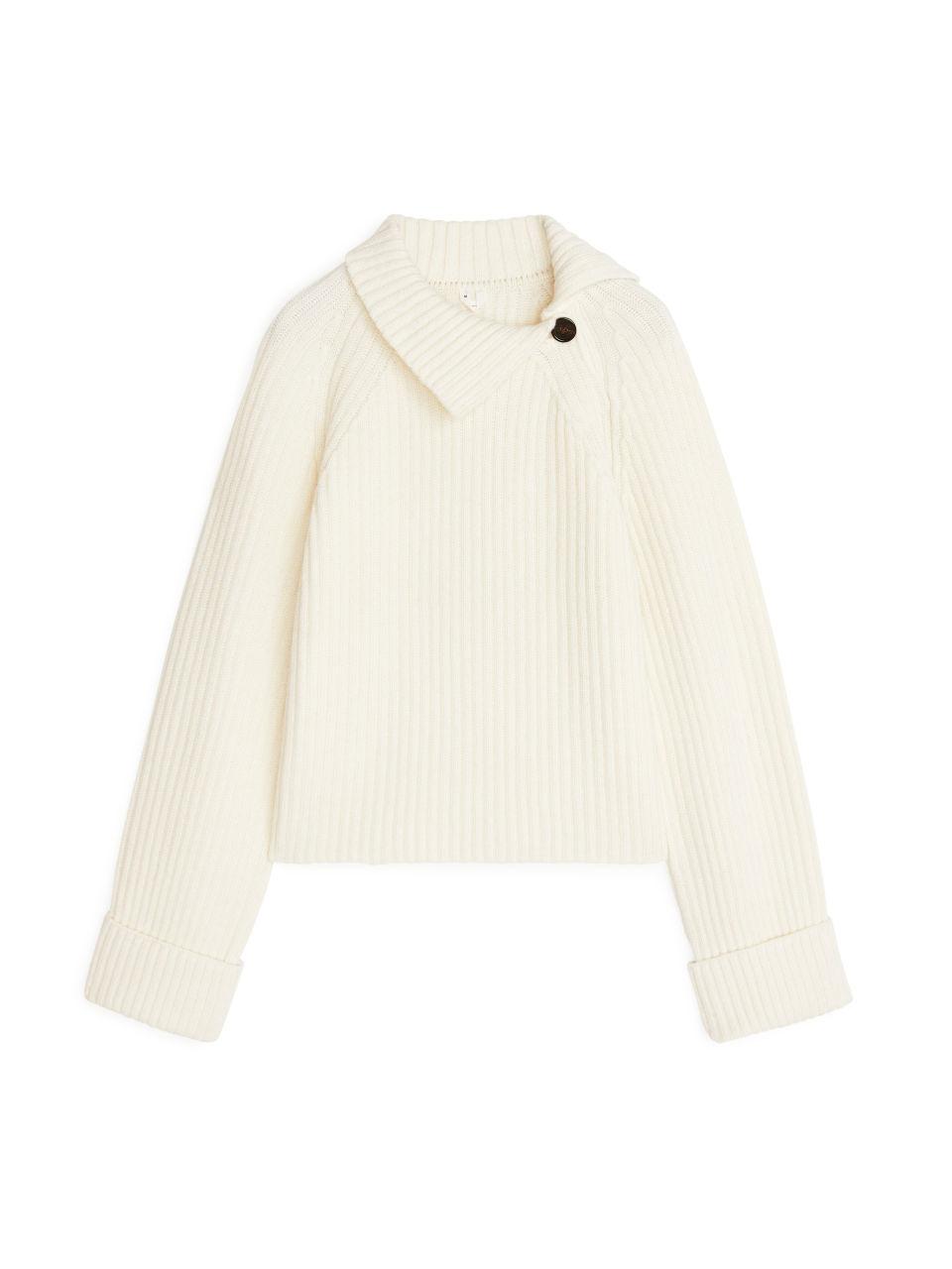 High-Neck Wool-Blend Jumper - White