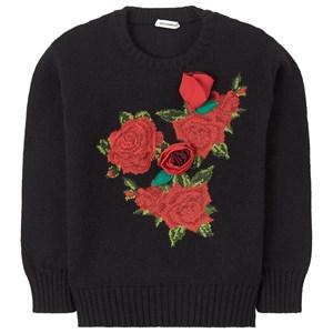Dolce & Gabbana Flower Applique Wool Knit Tröja Svart 5 år