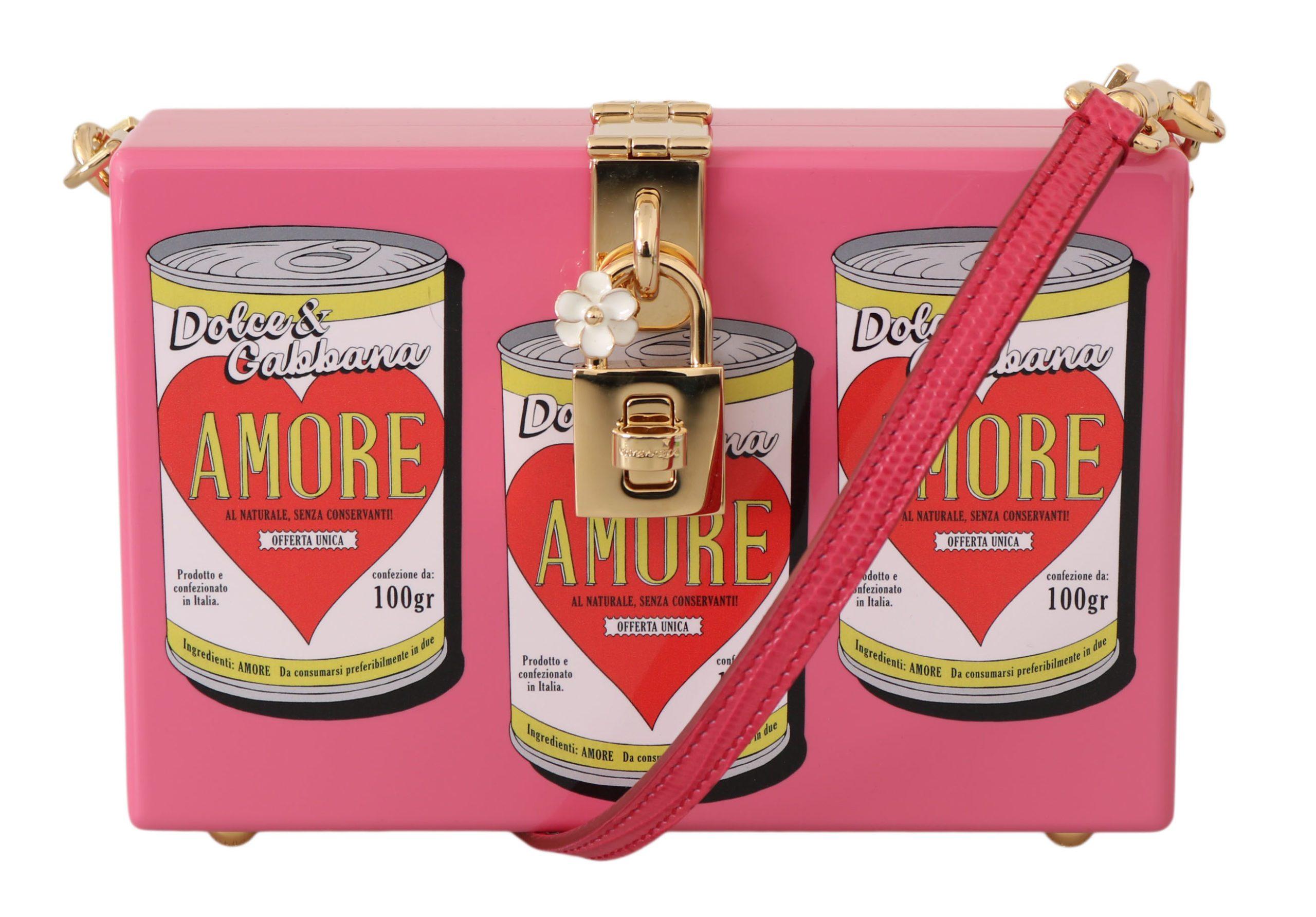 Dolce & Gabbana Women's Clutch Box Wooden AMORE Shoulder Bag Pink VA1052