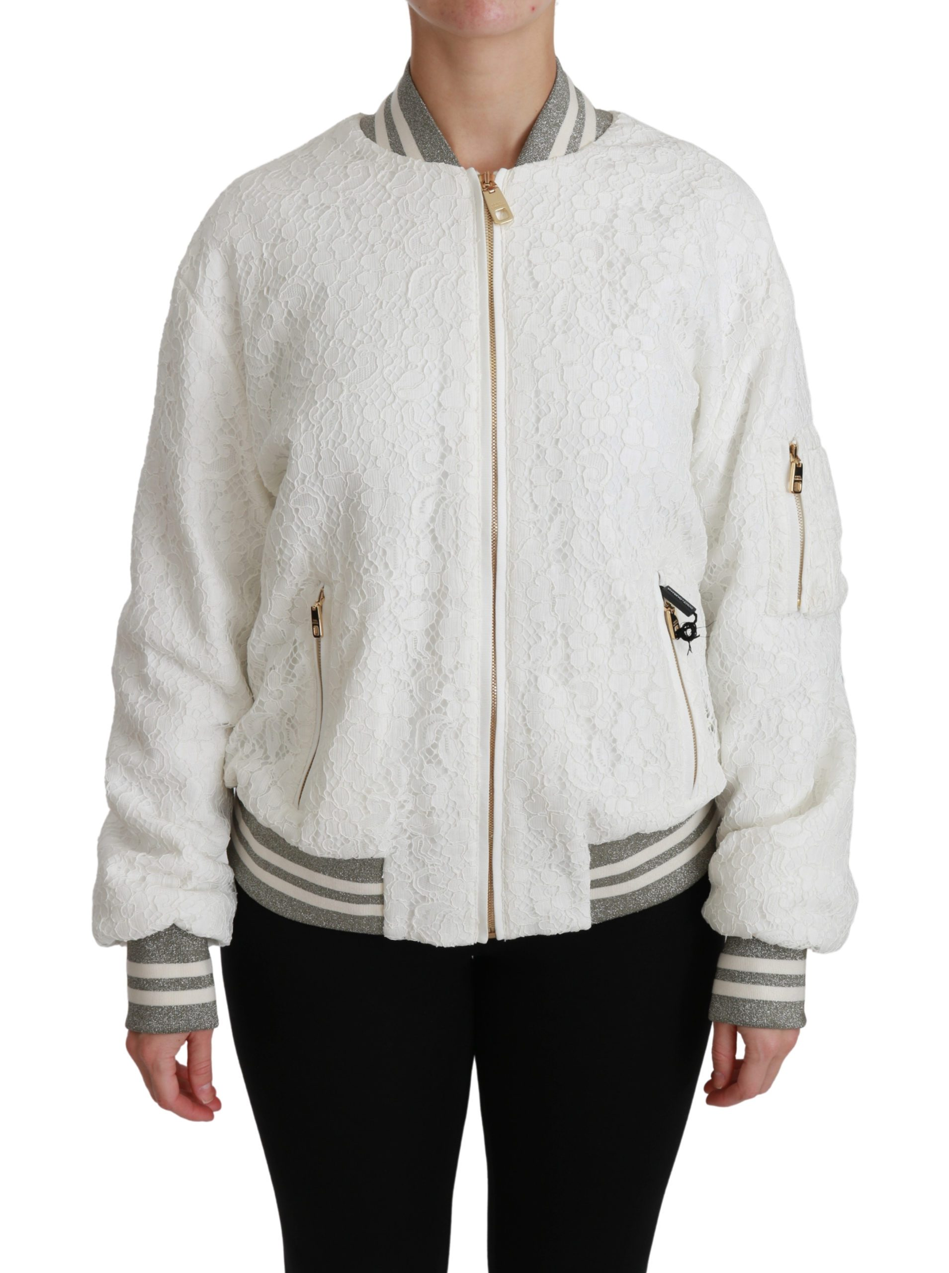 Dolce & Gabbana Women's Lace Full Zip Bomber Cotton Jacket White JKT2557 - IT40 S