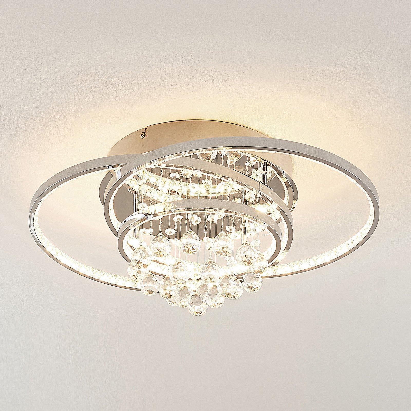 Lucande Keely LED-taklampe, krystall, 56,5 cm