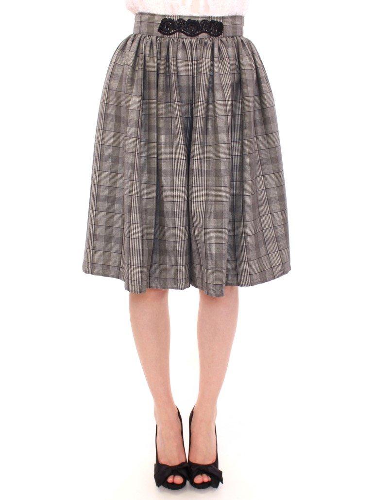 Gray Checkered Wool Shorts Skirt - IT42 M