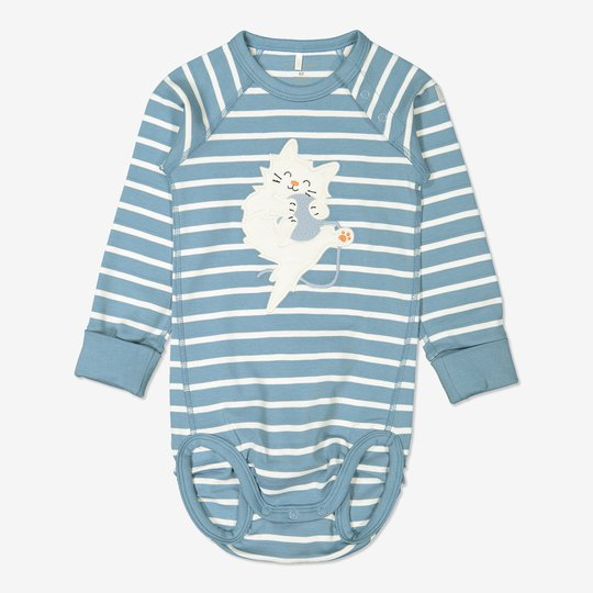 Stripet body baby blå