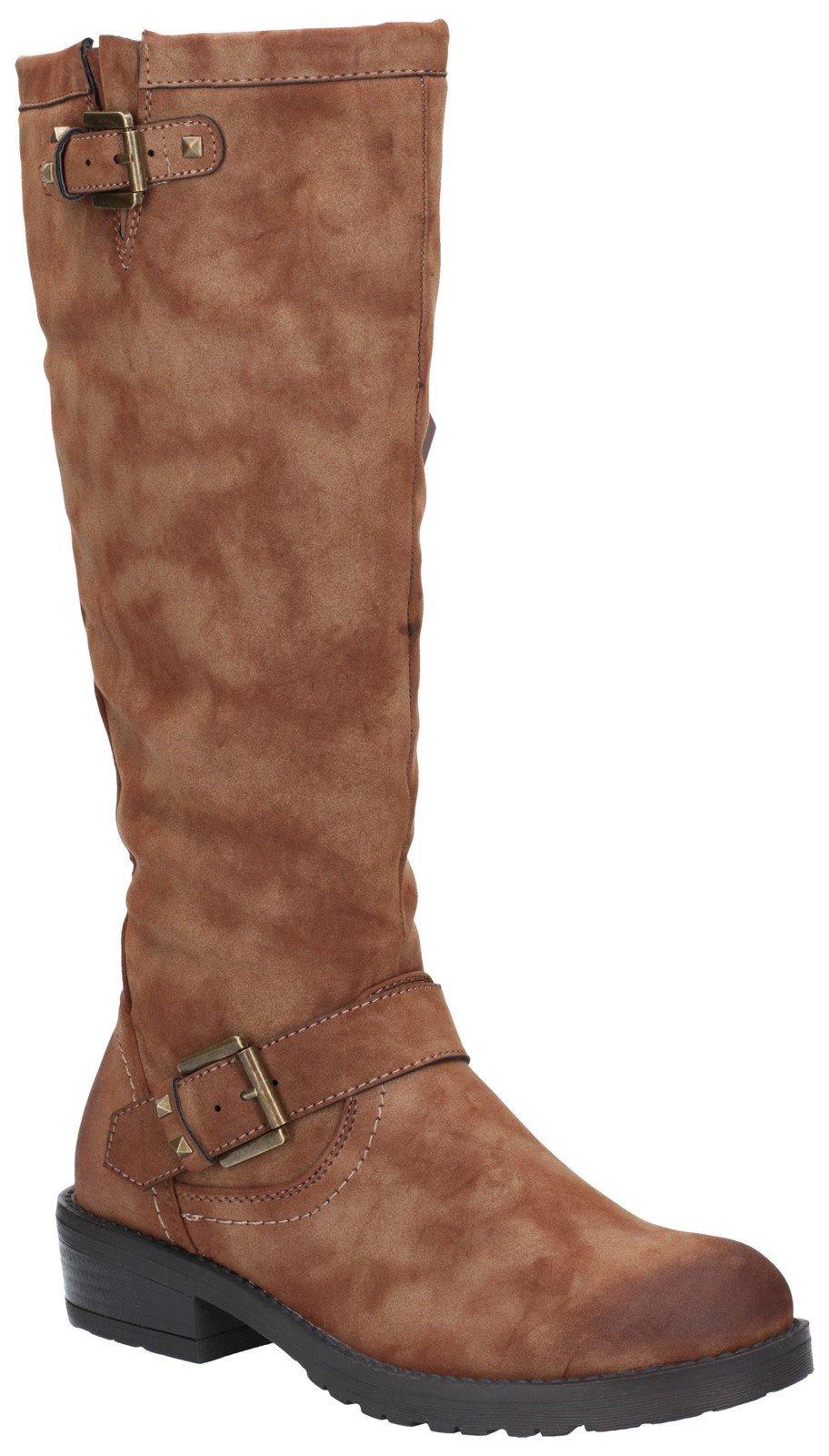 Divaz Women's Courtney Zip Up Boot Black 27167-45653 - Tan 3