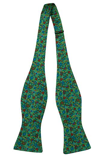 Silke Sløyfer Uknyttede, Små blå & røde blomster på grønn base, Grønn, Blomster