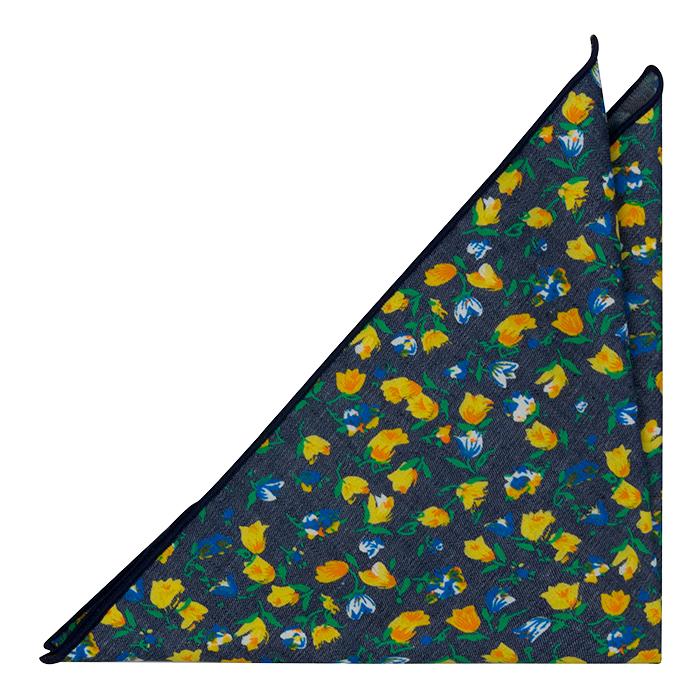 Bomull Lommetørkler, Mørk denimblå med blomster i rav og blått, Blå, Blomster