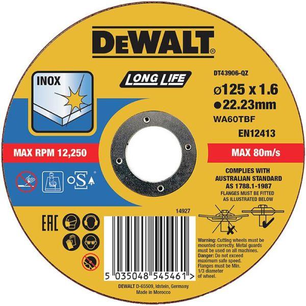 Dewalt DT43906 Kappskive thin cutting 125 x 1,6 mm