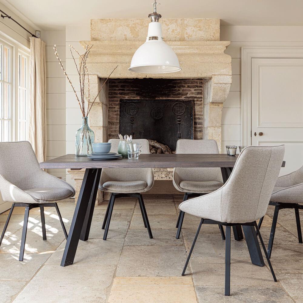 Valencia Solid Oak Dining Set - Dark Oak, with Gaudi Dining Chairs - Light Grey