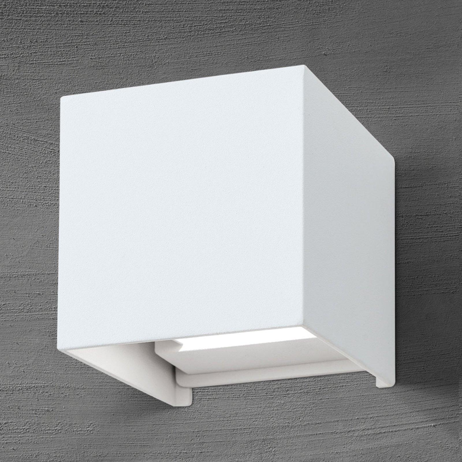 Terningformet, utendørs LED-vegglampe Cube i hvitt