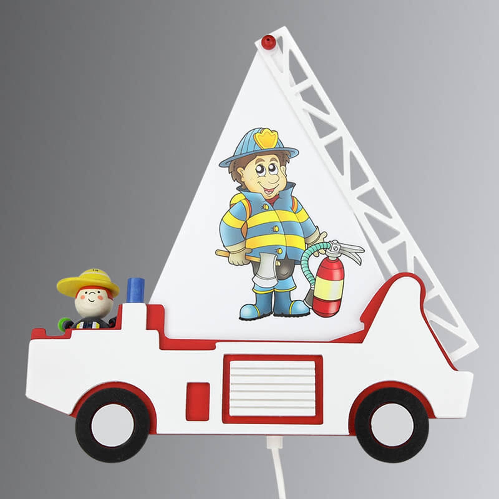 Vegglampe til barnerom Brannbil Fred