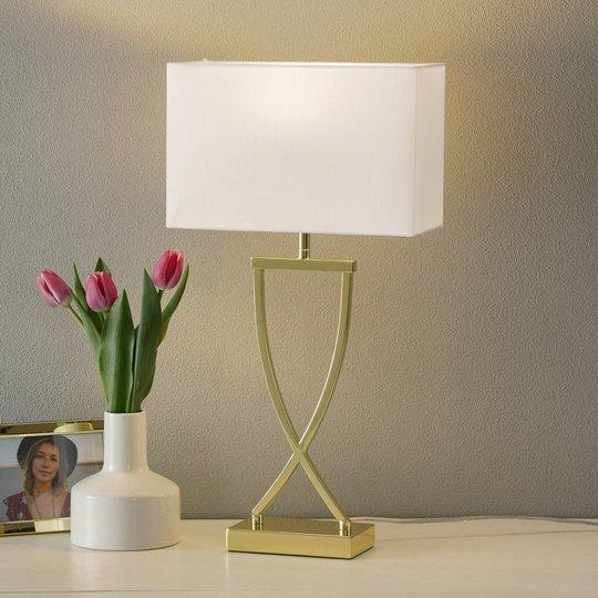 Fortryllende tekstilbordlampe Anni messing hvit