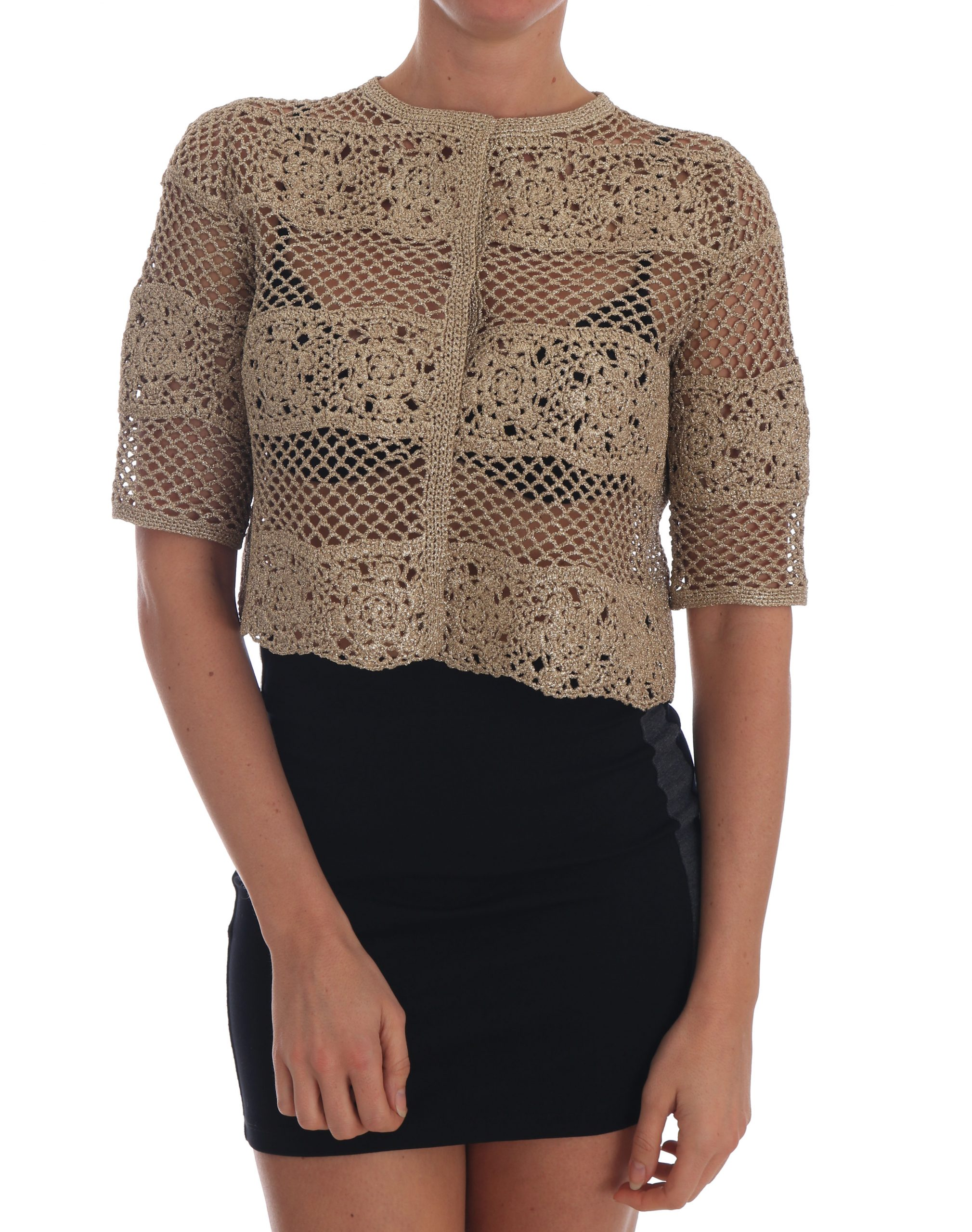 Dolce & Gabbana Women's Crochet Knitted Floral Cardigan Gold TSH1913 - IT40|S