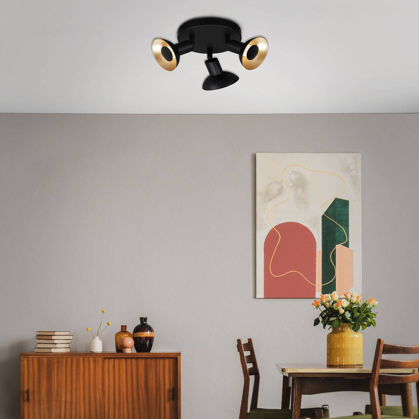 LED-taklampe Kukui, Rondell, 3 lyskilder