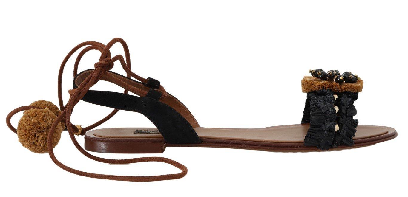 Dolce & Gabbana Women's Crystal Raffia Suede Sandal Black LA4283 - EU35/US4.5