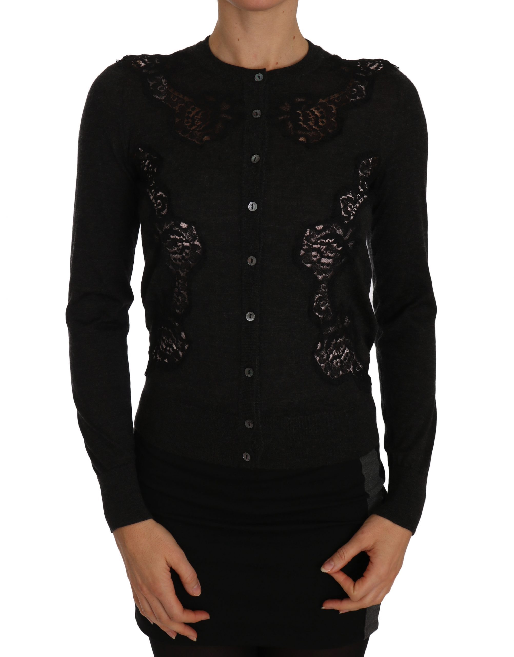 Dolce & Gabbana Women's Cashmere Lace Button Up Cardigan Gray TSH2258 - IT38|XS