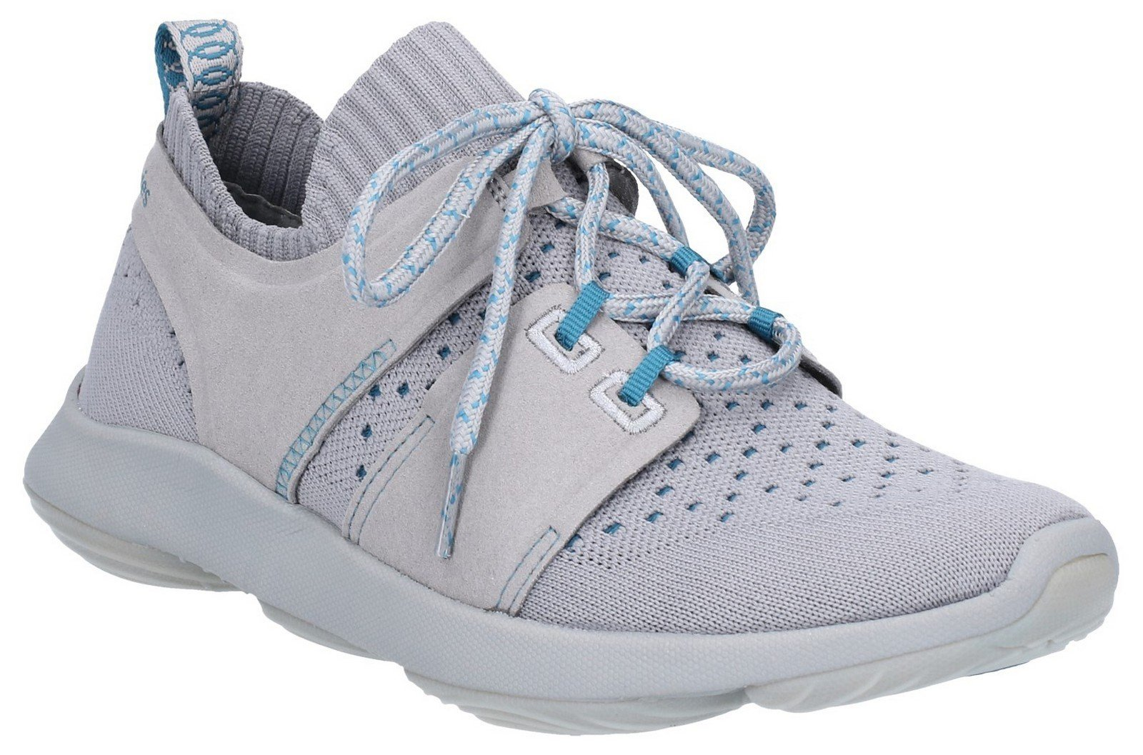 Hush Puppies Women's World BounceMax Lace Up Trainer Grey 30004 - Frost Grey Knit 3
