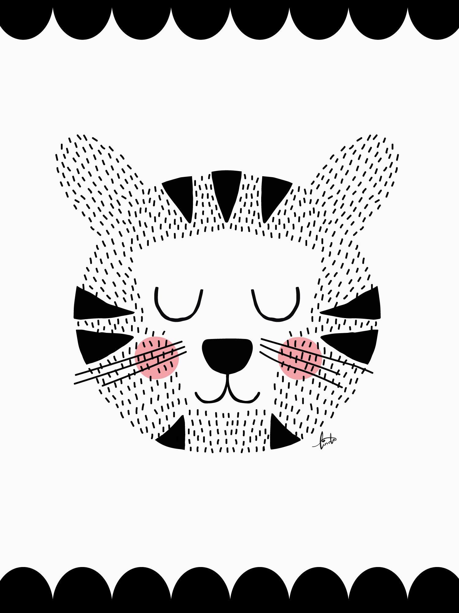 POPP Tiger Juliste 30x40, Musta