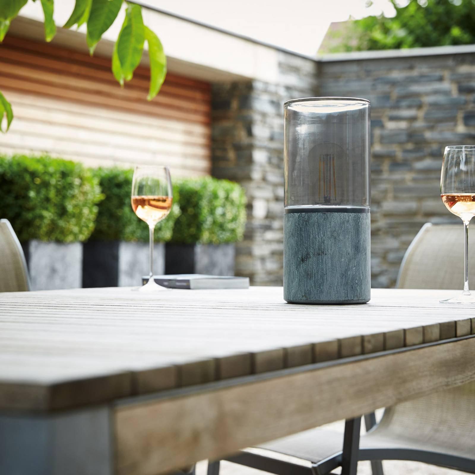 Steingrå bordlampe Lisenne-O til utebruk, IP44
