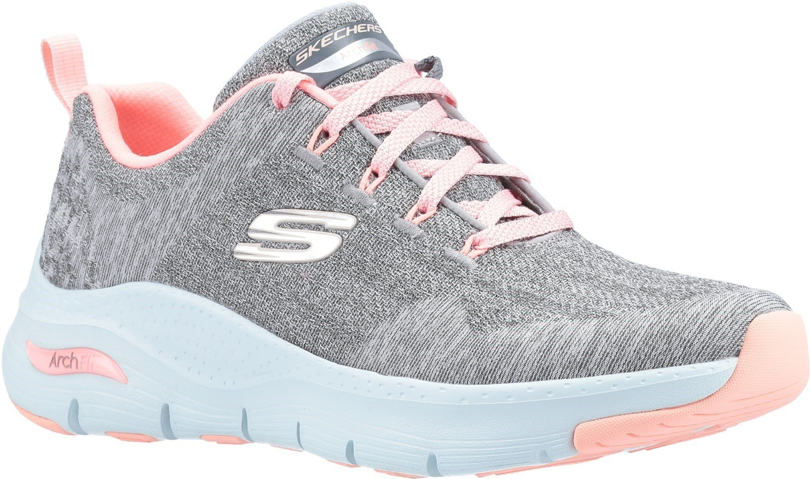 Skechers Women's Arch Fit Comfy Wave Trainer Various Colours 31042 - Grey/Pink 3