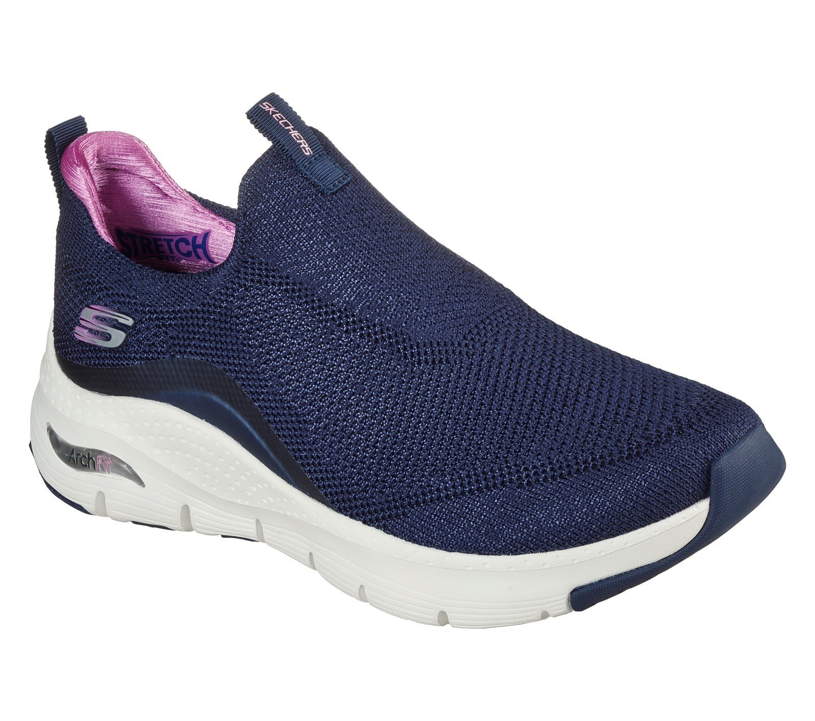 Skechers Women's Arch Fit Keep It Up Sport Trainer Various Colours 32108 - Navy/Purple 3