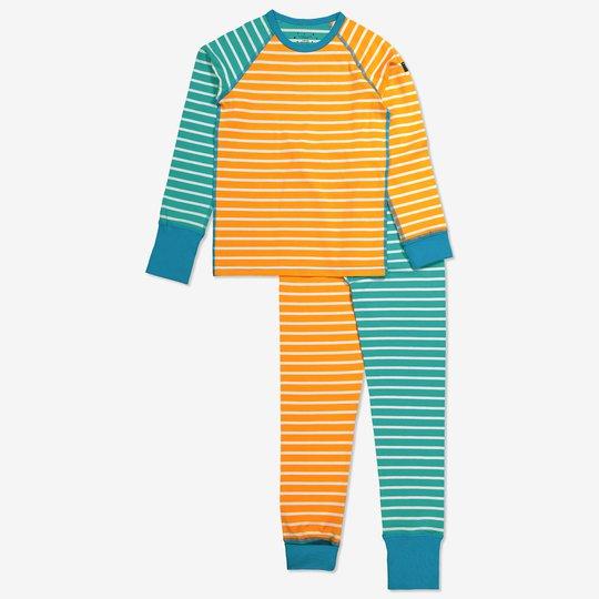 Stripet todelt pyjamas. turkis