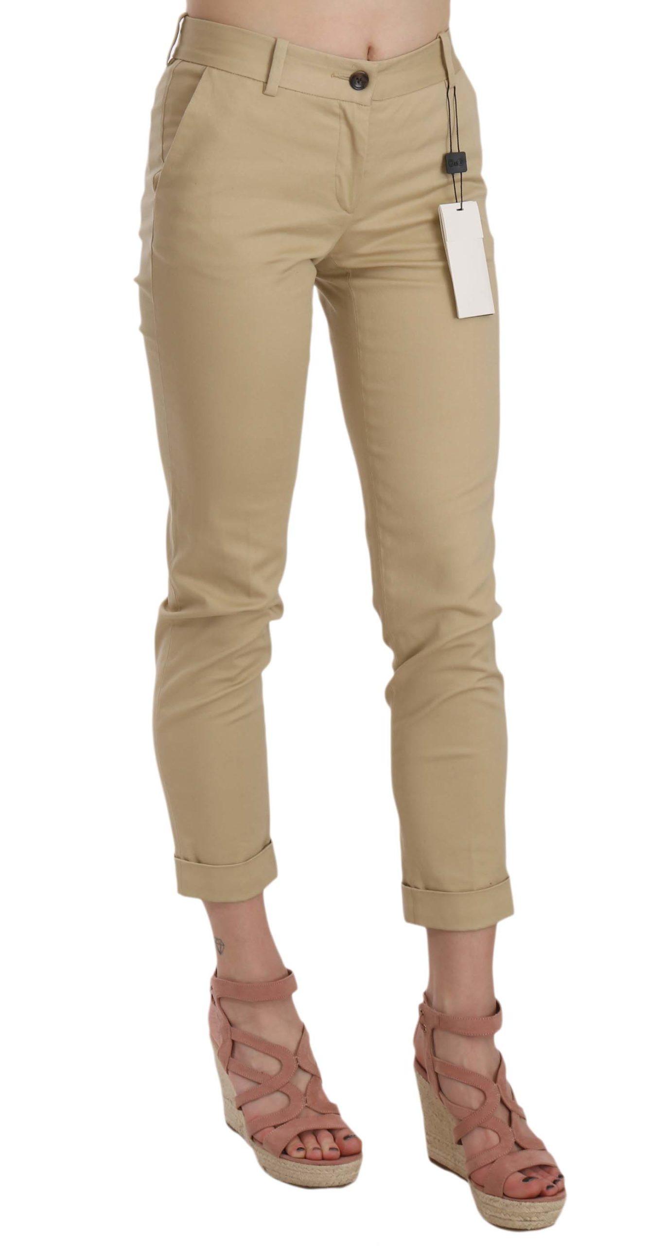 Dolce & Gabbana Women's Khaki Casual Fitted Cotton Trousers Khaki BYX1337 - IT36   XS