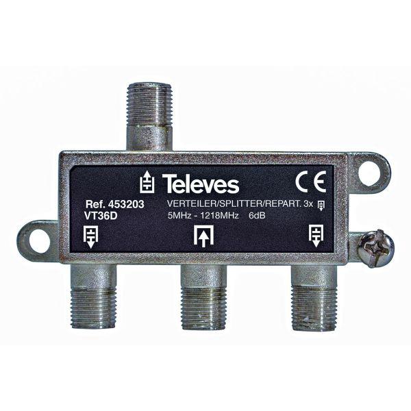 Televes VT36D Jakelija 5-1218 MHz, F-liitäntä 3-toiminen