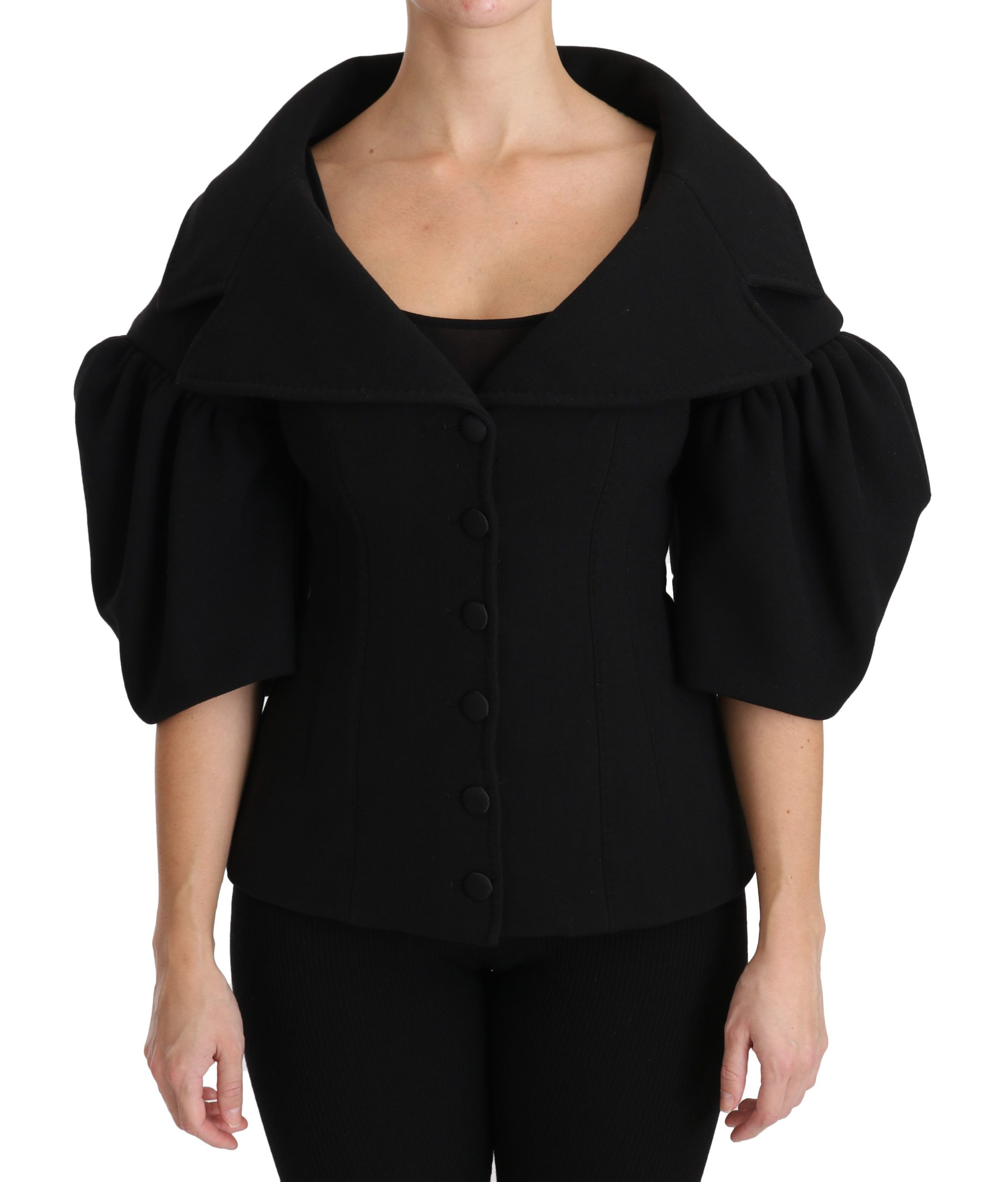 Dolce & Gabbana Women's Formal Virgin Wool Formal Coat Black JKT2486 - IT40 S
