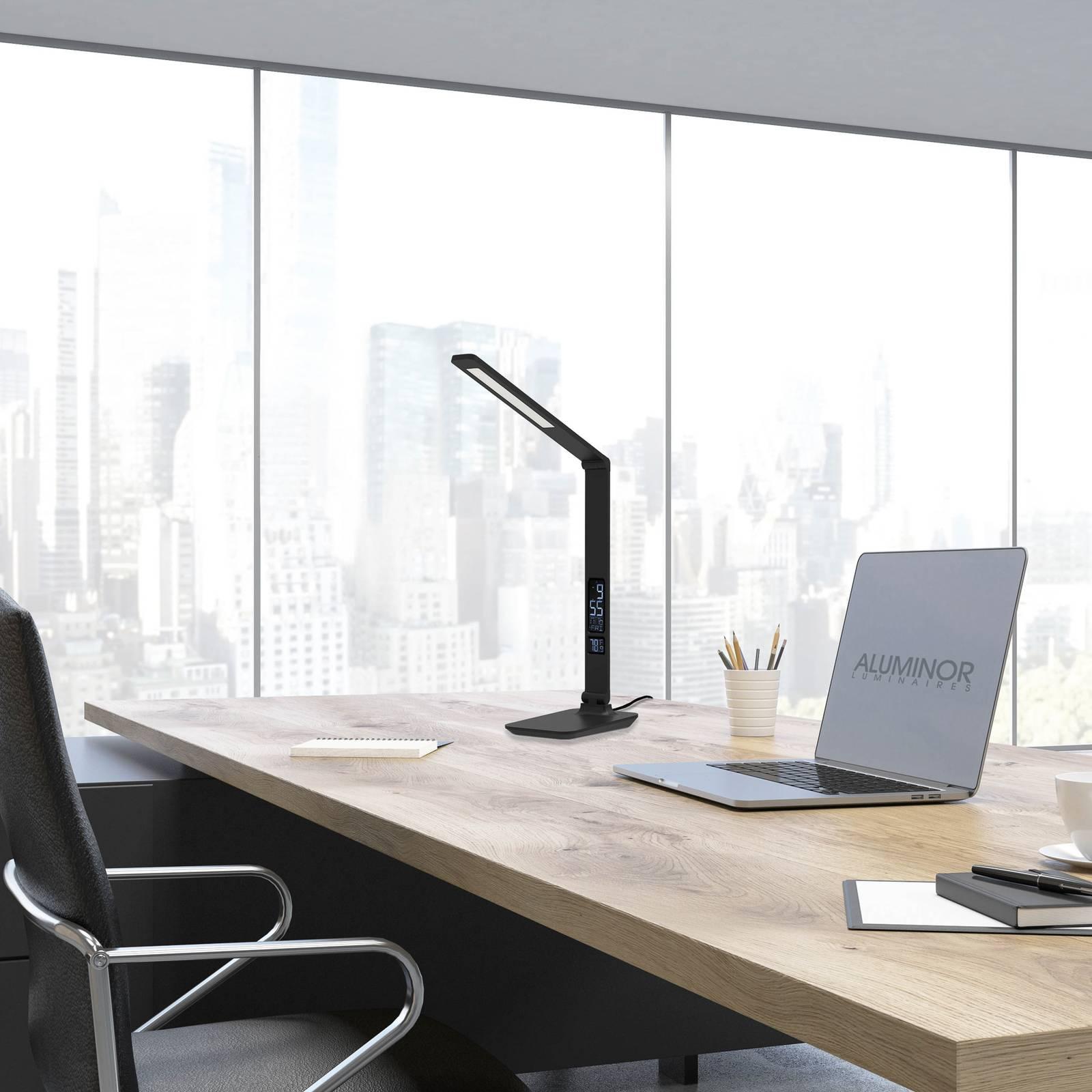 Aluminor Sandra -LED-pöytälamppu ja kello, musta