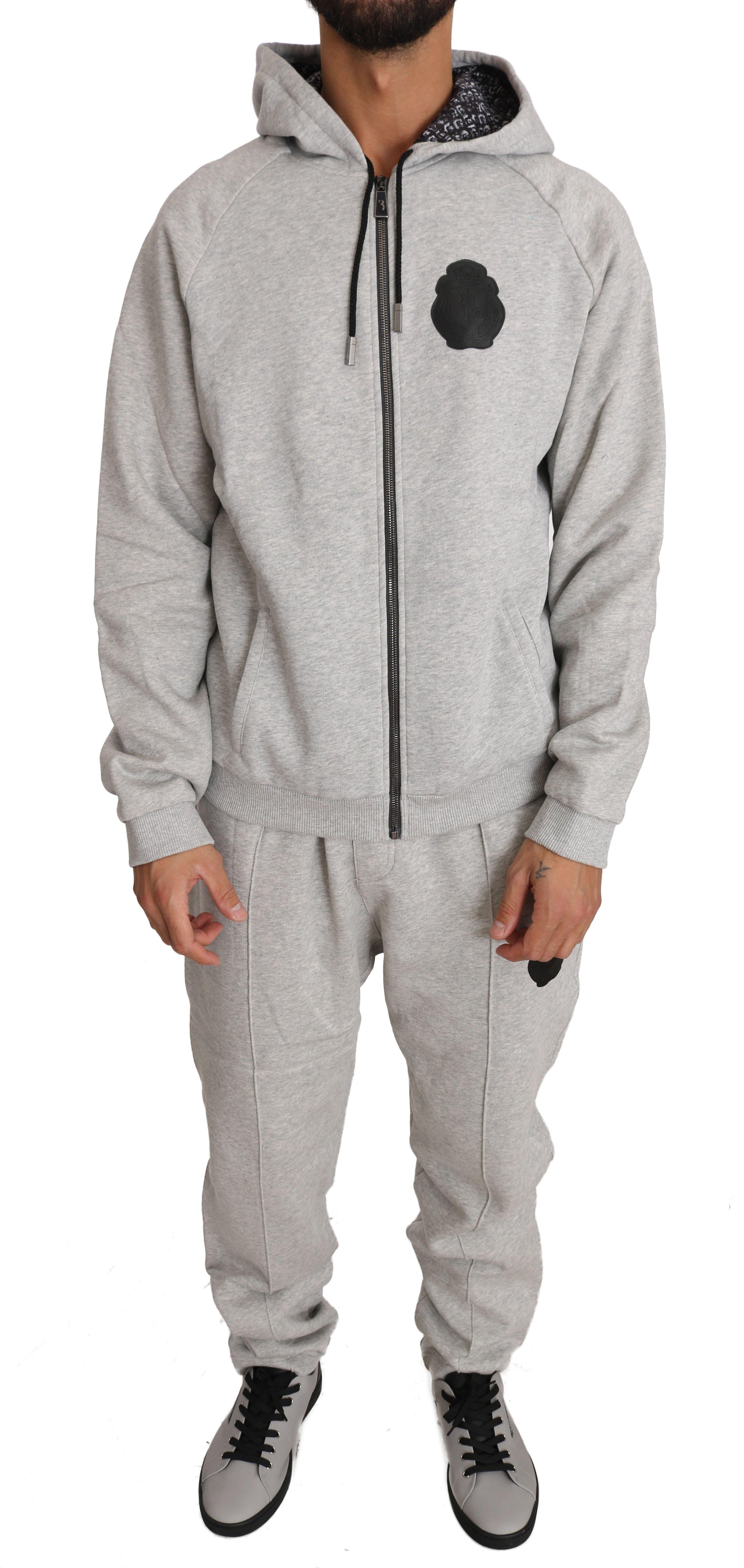 Billionaire Italian Couture Men's Hoodie Tracksuit Grey BIL1026 - XL