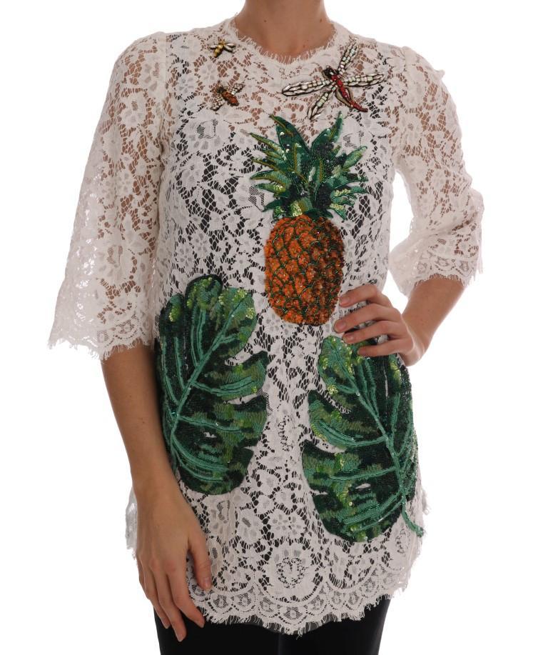 Dolce & Gabbana Women's Crystal Embellished T-Shirts White DR1358 - IT36 | XS