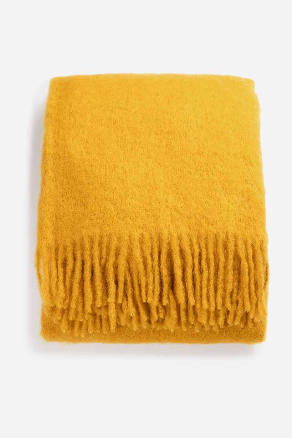 Pläd Mustard 130x170 mohair
