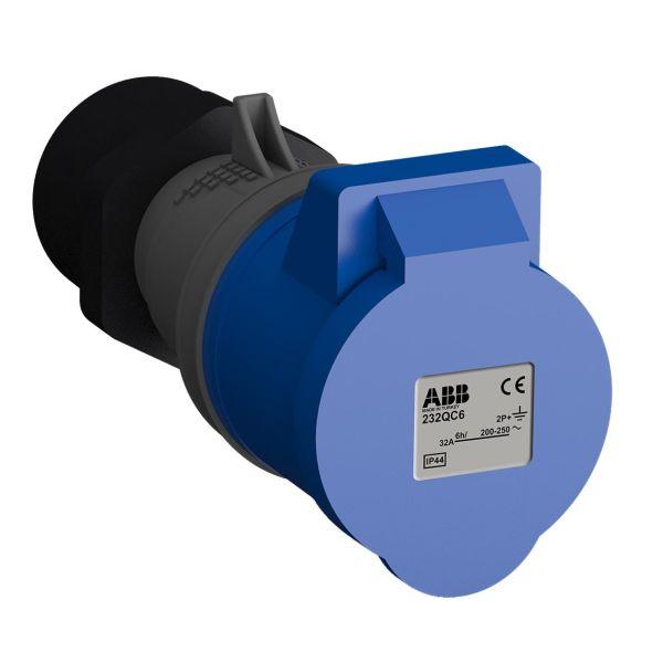 ABB 2CMA102346R1000 Jatkopistorasia pikaliitettävä, tärinänkestävä Sininen, 32 A, 3-napainen, IP44