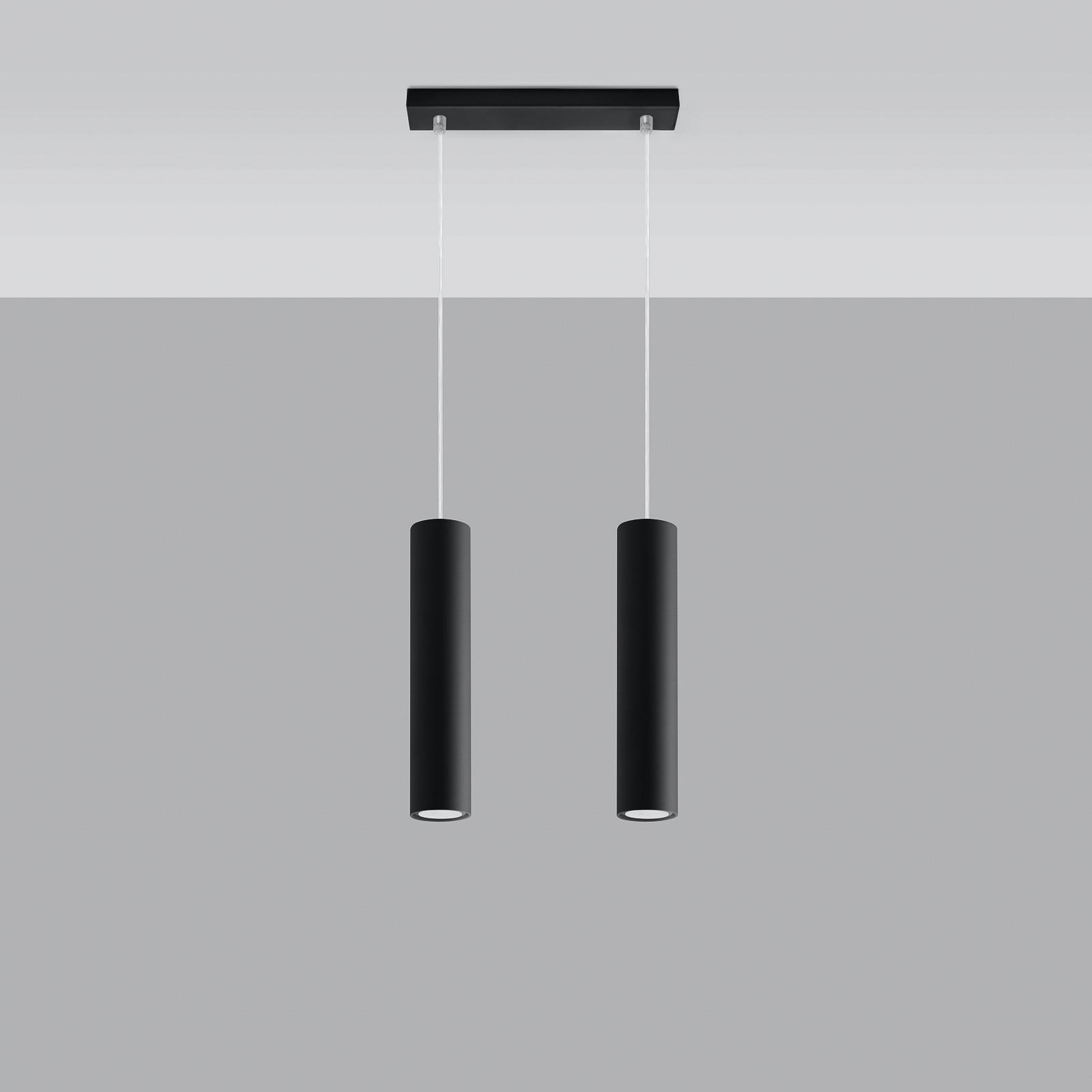 Riippuvalaisin Tube, musta, 2-lamppuinen