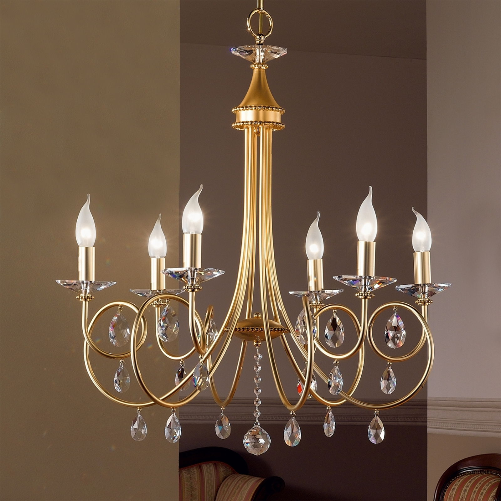 6-lamppuinen Kattokruunu VIOLETTA, kulta