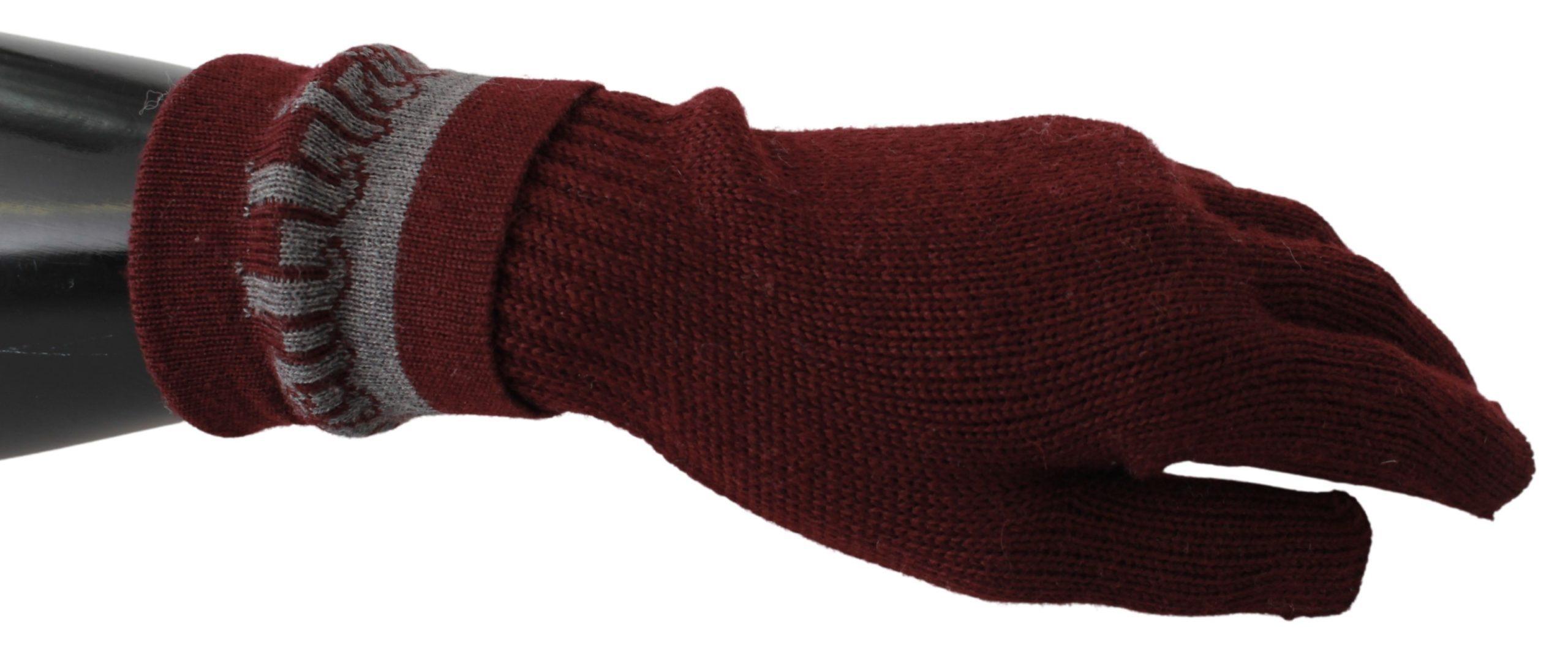 John Galliano Women's Elastic Wrist Mitten Gloves Bordeaux LB1021BG