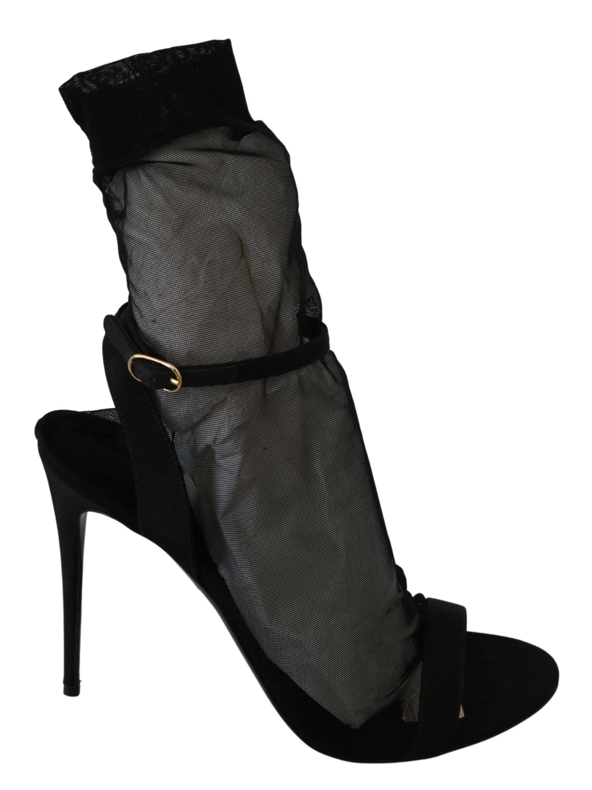 Dolce & Gabbana Women's Tulle Stretch Boots Black LA7346 - EU39/US8.5