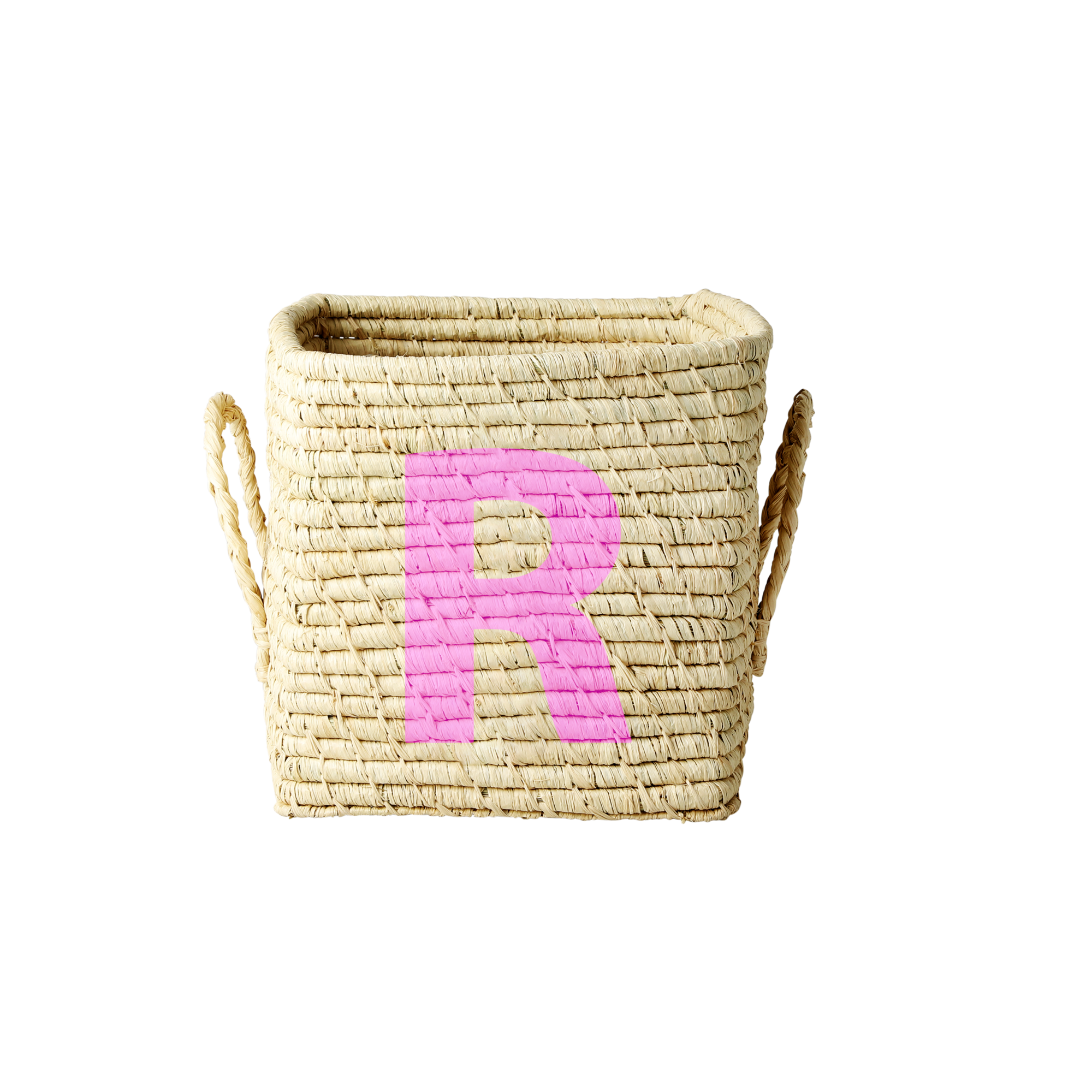 Rice - Raffia Square Basket w. Painted Letter - R