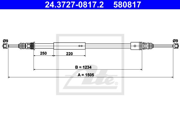Käsijarruvaijeri ATE 24.3727-0817.2