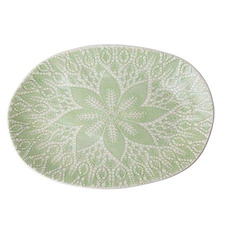 Fat Lace Print D:25 cm Keramikk Grønn