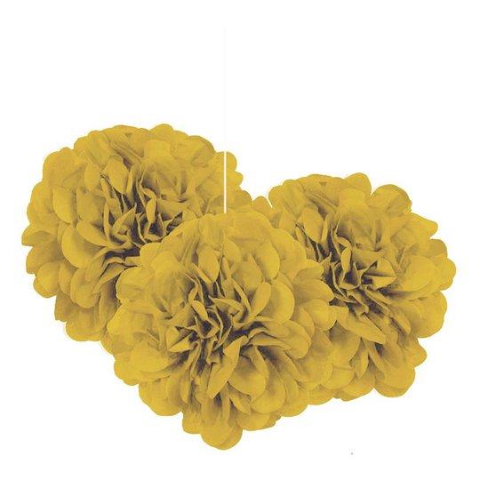 Pom Pom Mini Guld Hängande Dekoration - 3-pack