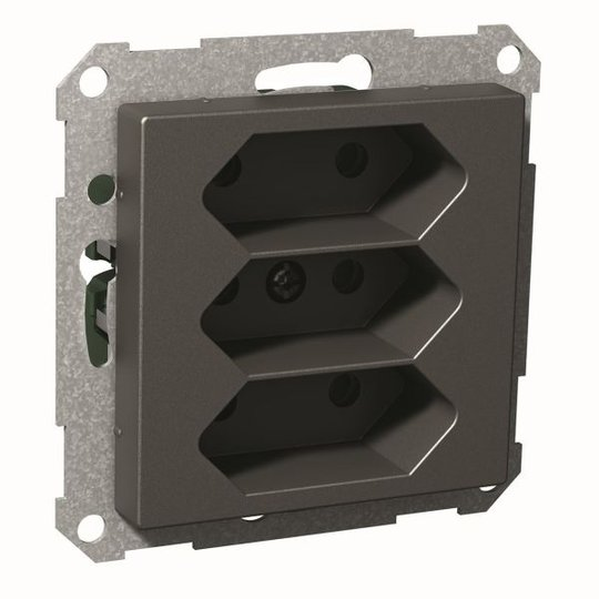Schneider Electric Exxact Seinäpistorasia 3-osainen, 2,5 A Antrasiitti