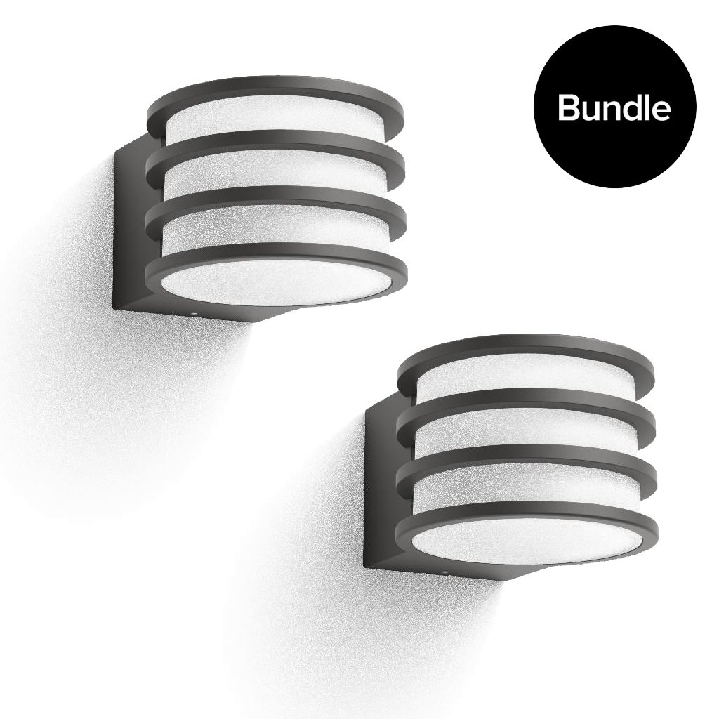 Philips Hue - 2x Lucca Outdoor Wall Light - Warm White - Bundle