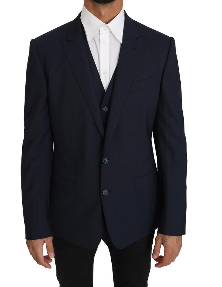 Dolce & Gabbana Men's Vest 2 Piece Wool MARTINI Blazer Blue KOS1220 - IT50 | L