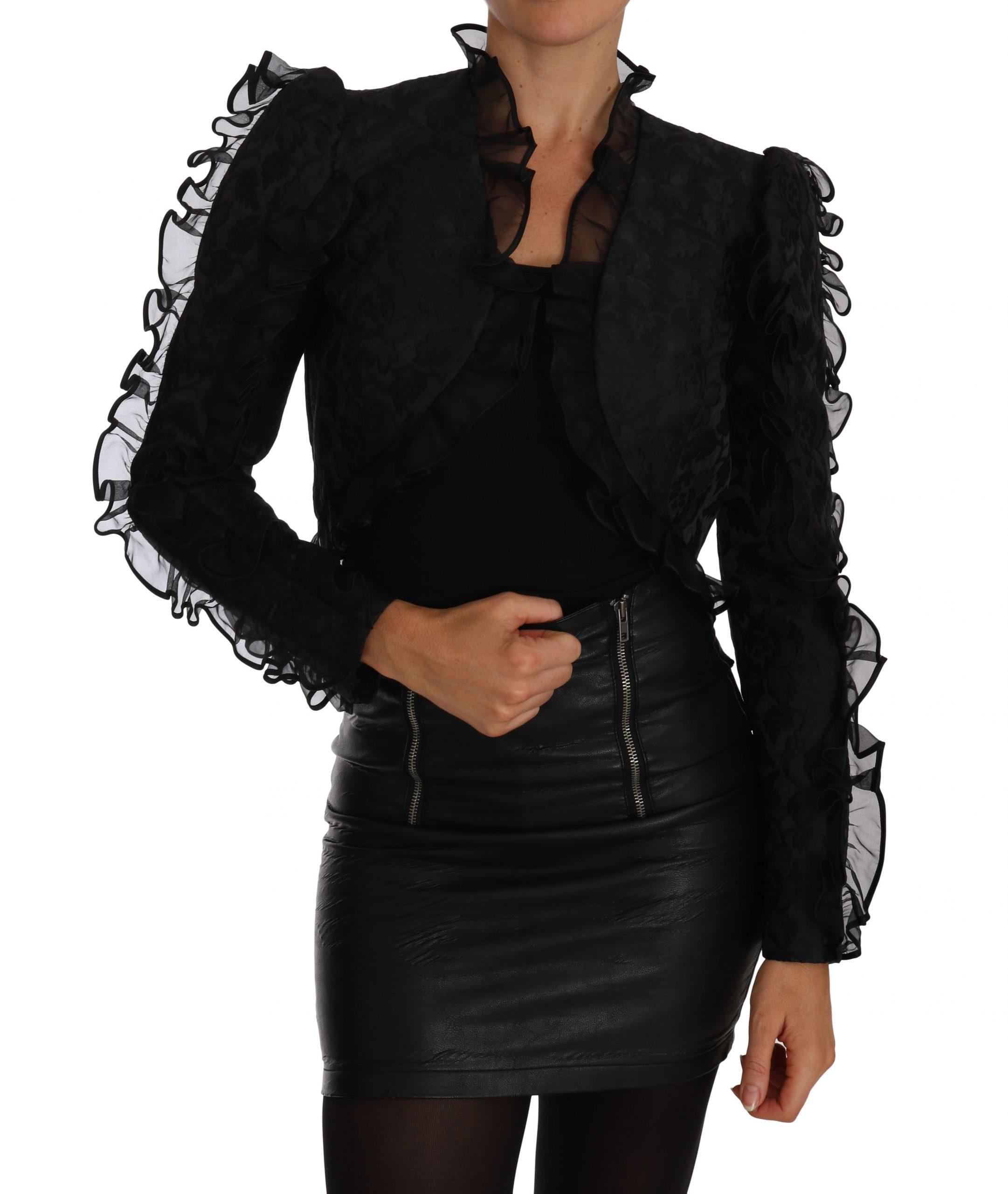 Dolce & Gabbana Women's Ruffled Crop Brocade Bolero Jacket Black TSH2306 - IT38|XS