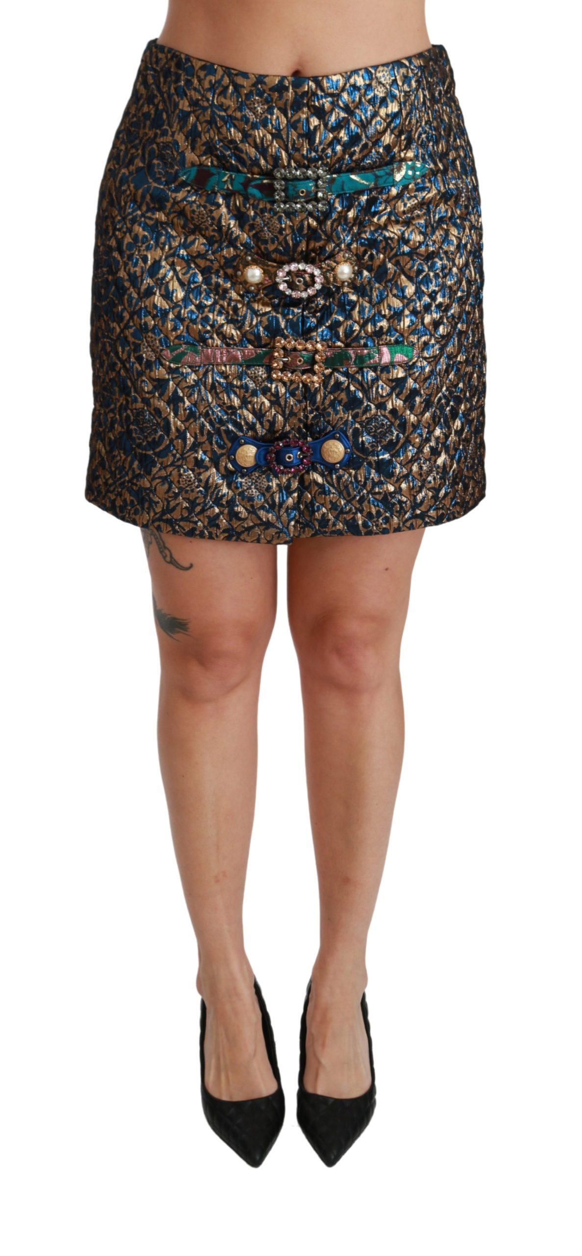 Dolce & Gabbana Women's Jacquard Crystal Mini Skirt Blue SKI1404 - IT42|M