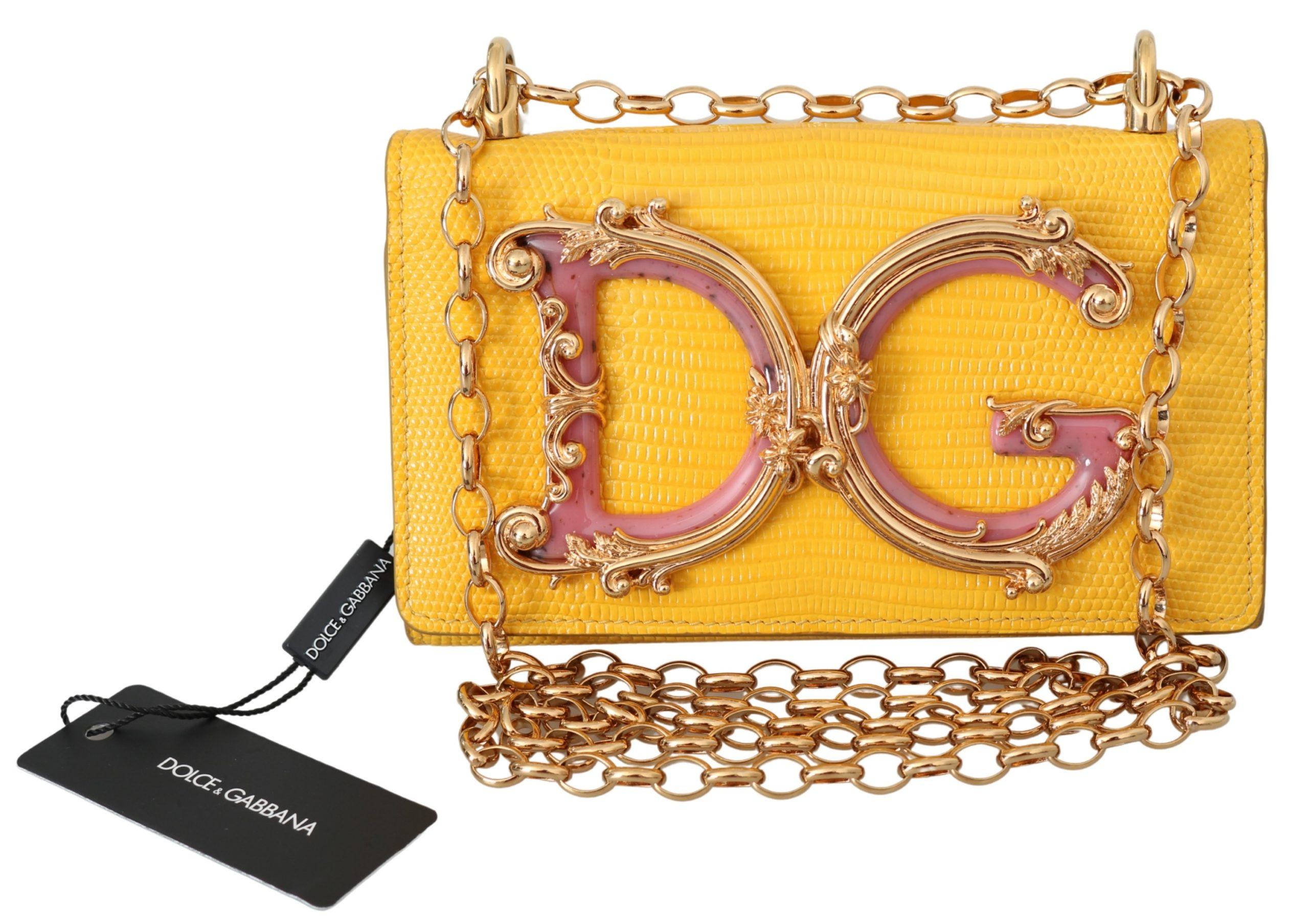 Dolce & Gabbana Women's Leather Logo iPhone X Cover Crossbody Bag Yellow VAS9915