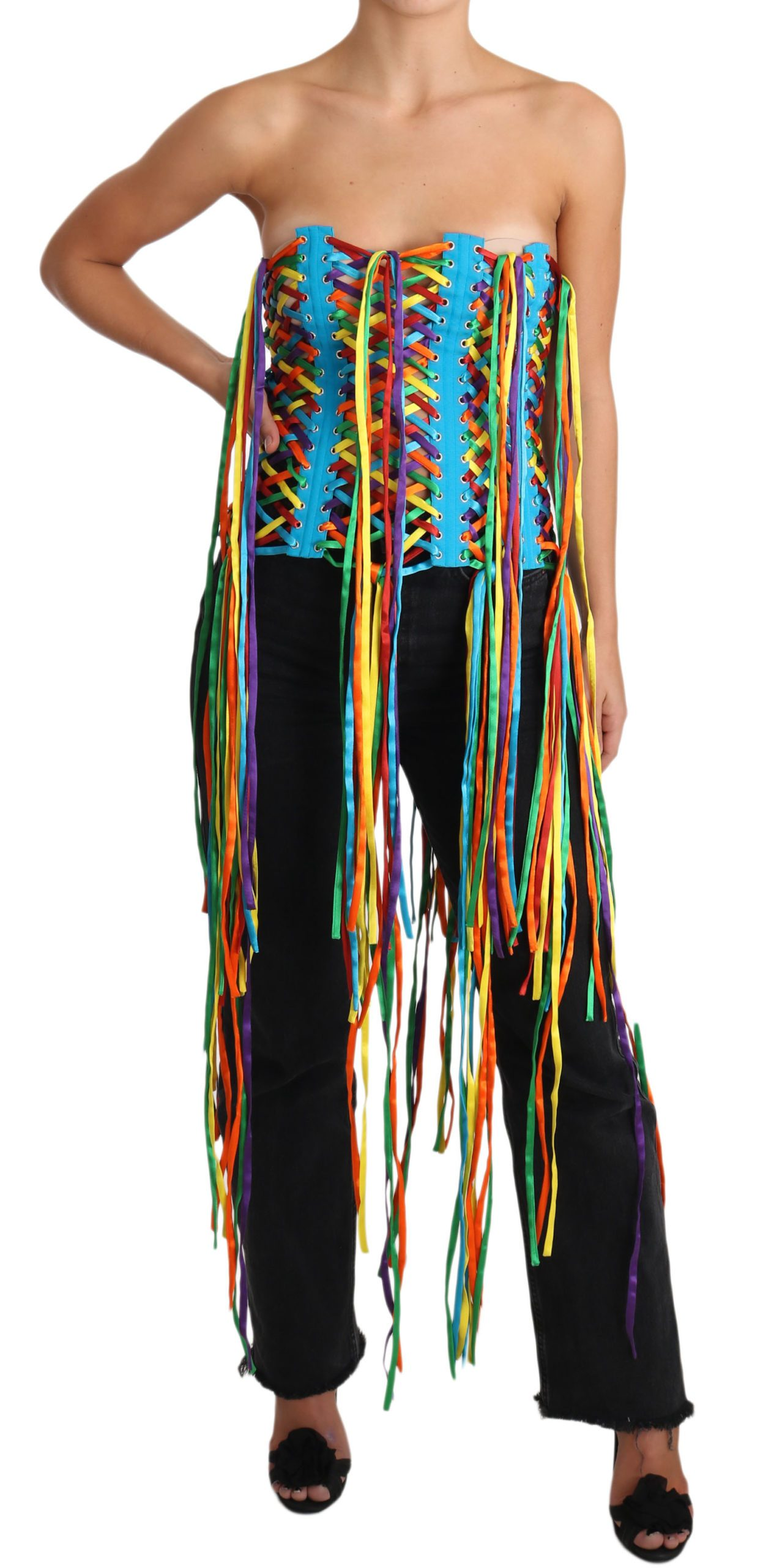 Dolce & Gabbana Women's Polyester Corset Top Multicolor TSH3405 - IT38 XS