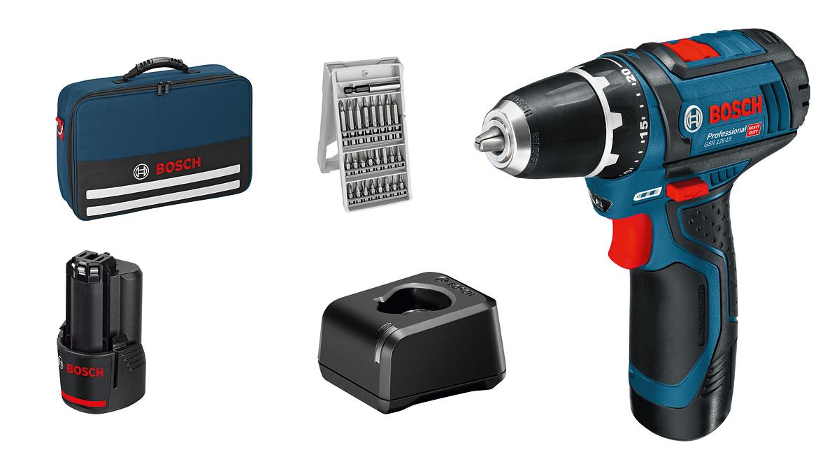 Bosch - GSR 12V-15 - Cordless Drill Driver - Complete Set
