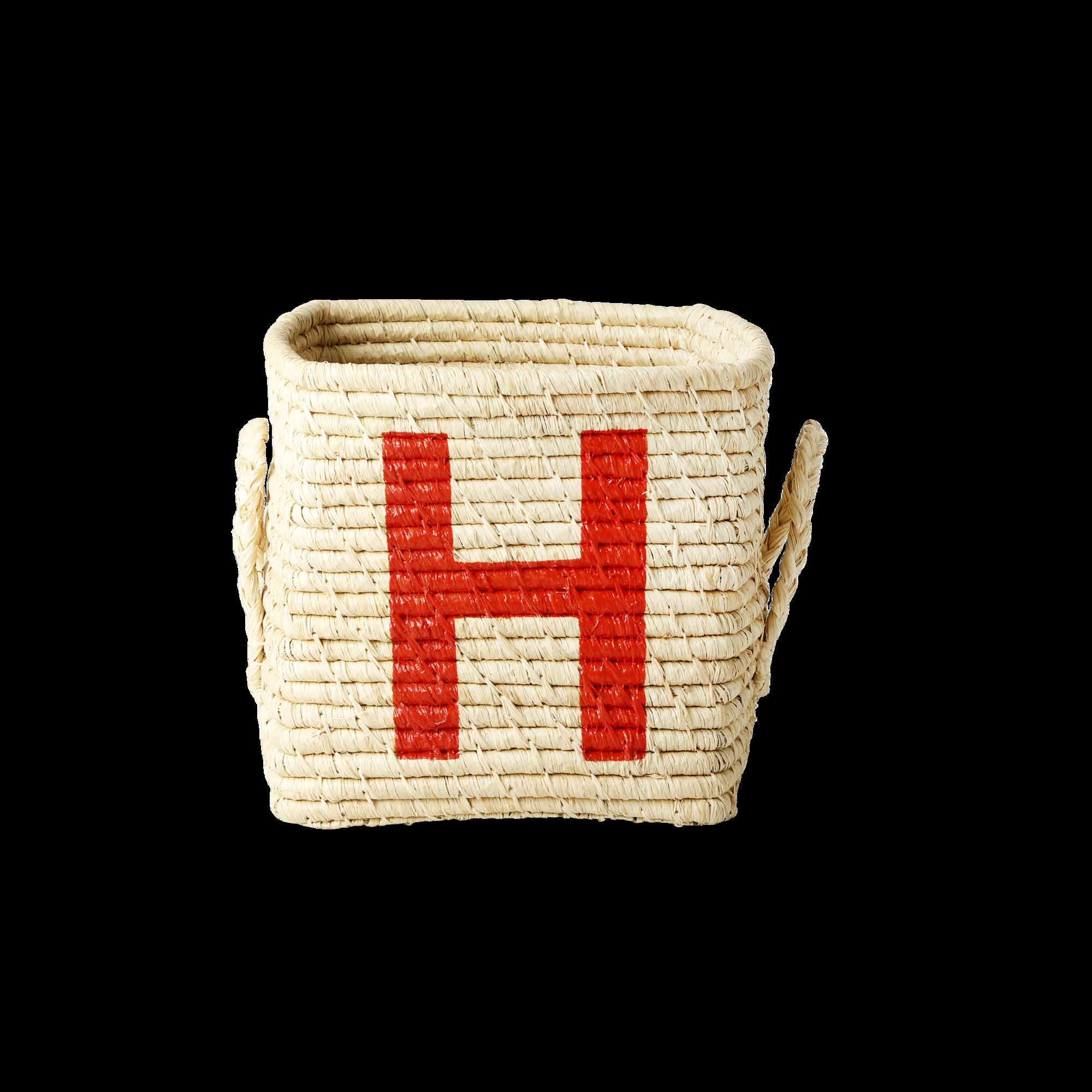 Rice - Raffia Square Basket w. Painted Letter - H